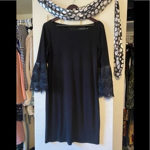 Black Dress Business Casual Lace Sleeve